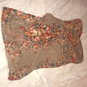 Tan dress with floral print